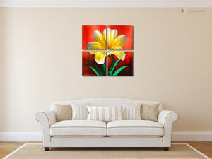 Luvurwall 4 Panel Flower Metal Wall Art, Metal Wall Art - Luvurwall