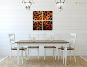 Luvurwall 4 Panel Kaleidoscope Metal Wall Art, Metal Wall Art - Luvurwall