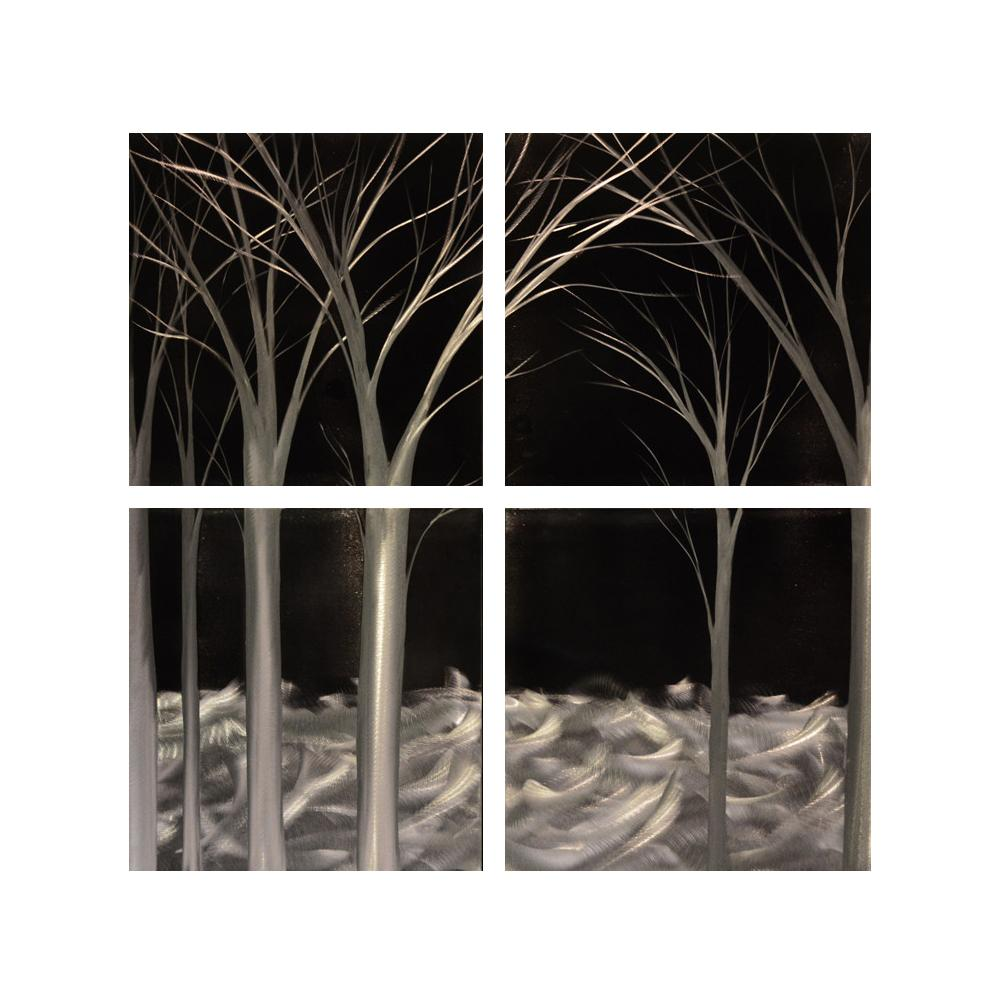 Luvurwall 4 Panel Black And White Trees Metal Wall Art, Metal Wall Art - Luvurwall