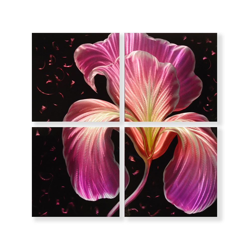 Luvurwall 4 Panel Purple Orchid Metal Wall Art, Metal Wall Art - Luvurwall