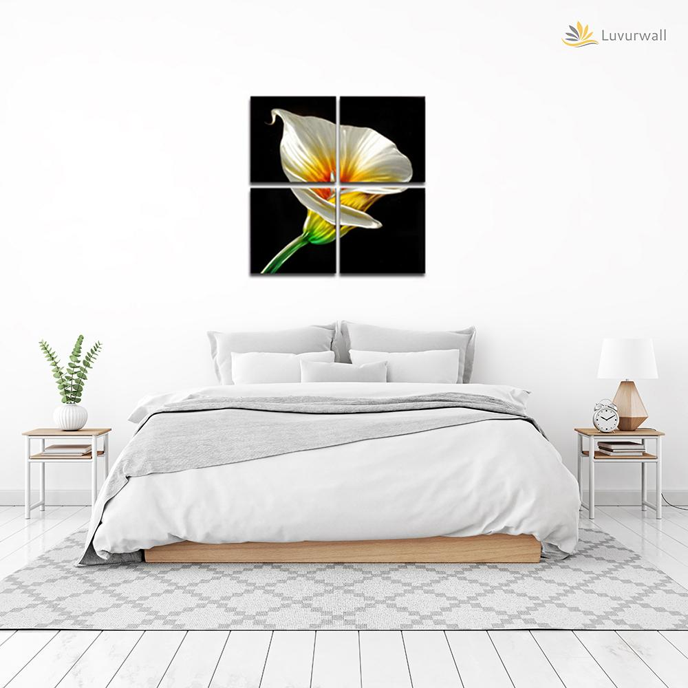 Luvurwal 4 Panel White Tulip Metal Wall Art, Metal Wall Art - Luvurwall