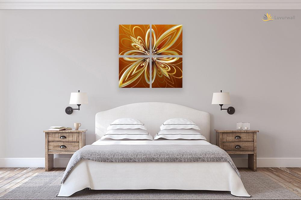 Luvurwall 4 Panel Golden Flower Metal Wall Art, Metal Wall Art - Luvurwall