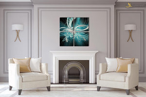 Luvurwall 4 Panel Blue Abstract Metal Wall Art, Metal Wall Art - Luvurwall