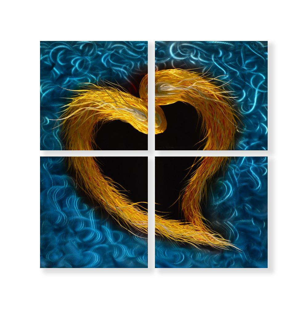 Luvurwall 4 Panel Golden Heart Metal Wall Art, Metal Wall Art - Luvurwall
