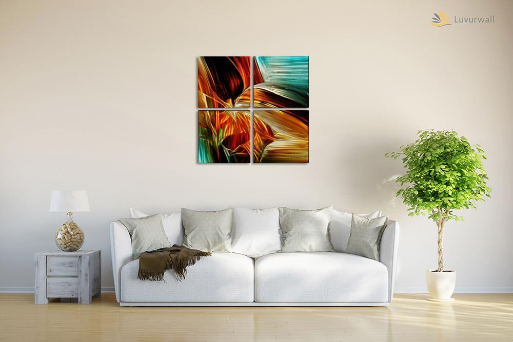 Luvurwall 4 Panel Multi Colored Abstract Metal Wall Art, Metal Wall Art - Luvurwall