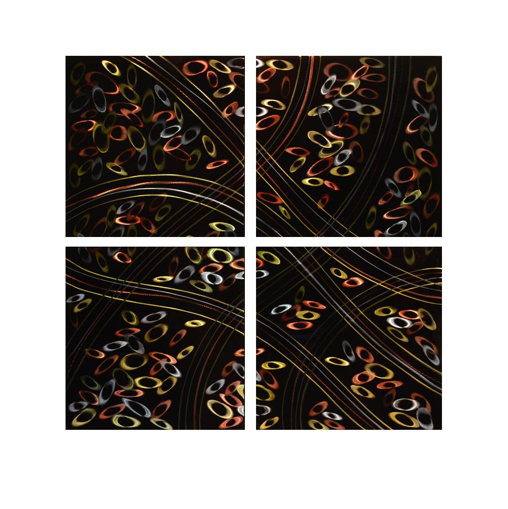 Luvurwall 4 Panel Pebbles Metal Wall Art, Metal Wall Art - Luvurwall