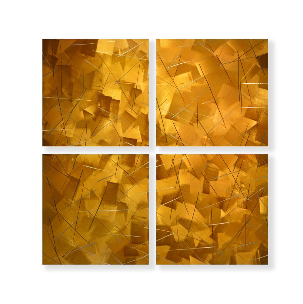 Luvurwall 4 Panel Gold Abstract Metal Wall Art, Metal Wall Art - Luvurwall