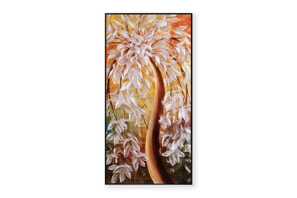 Luvurwal Tree with White Flowers Metal Wall Art, Metal Wall Art - Luvurwall
