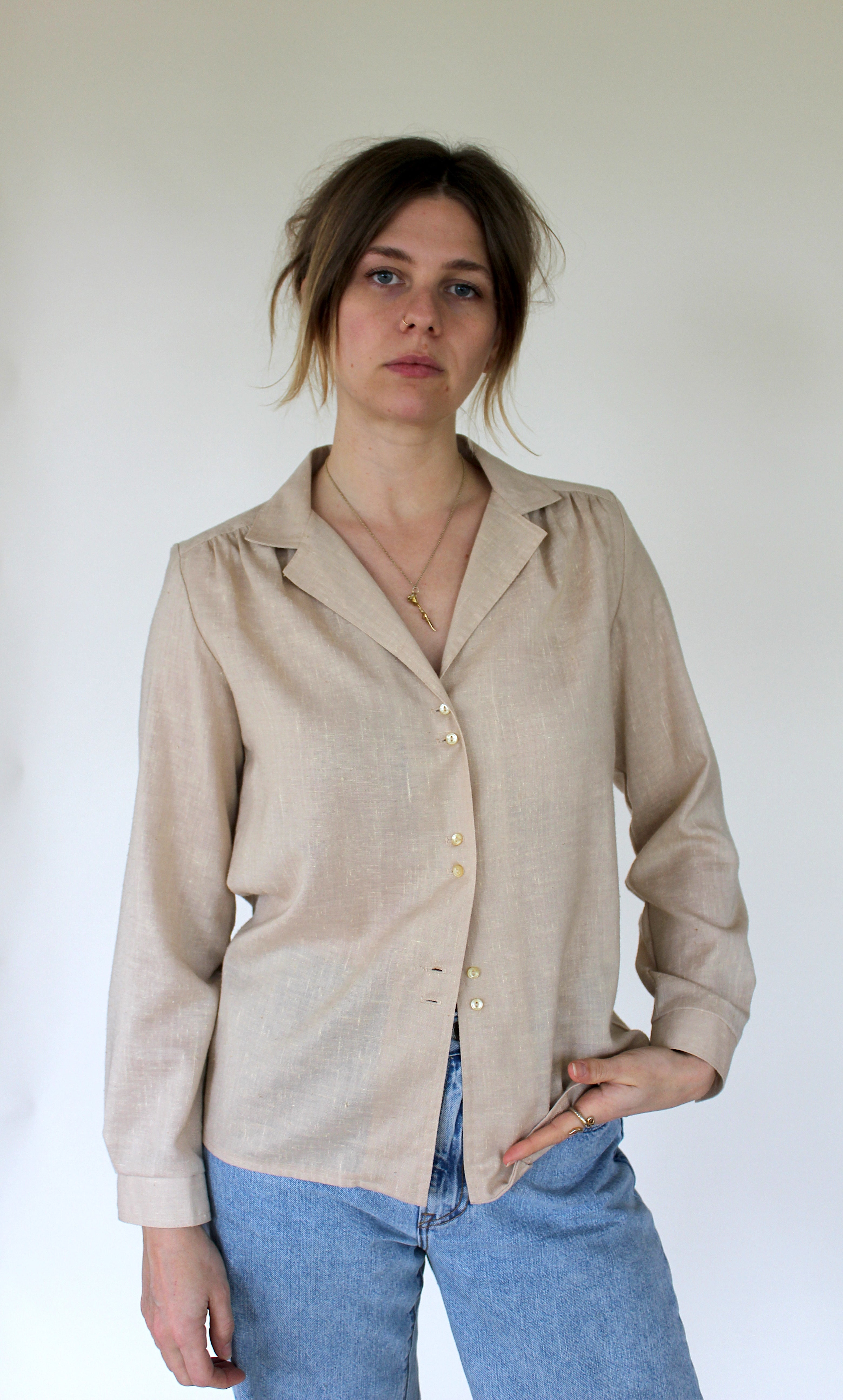 Oatmeal Linen Button Down
