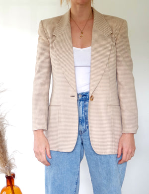 Tan Houndstooth Blazer