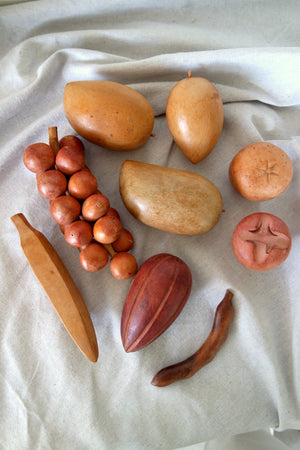 Hand Carved Wooden Fruit & Bowl