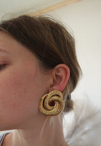 Hammered Gold Knot Earrings