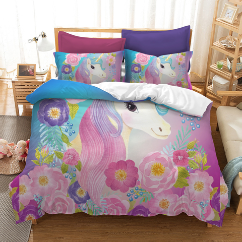 Image of Floral Unicorn / Twin 3 Piece Set Floral Unicorn Bedding Set