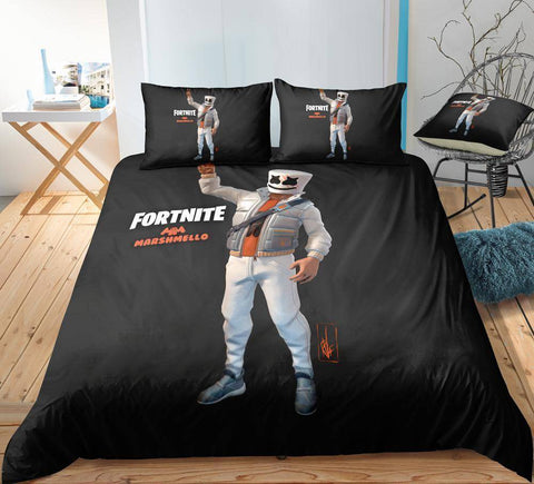 Image of Marshmello / Twin 3 Piece Set Original Fortnite Bedding Duvet Cover Sets