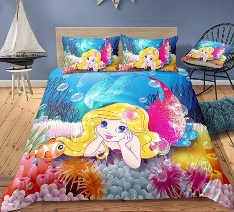 Image of Mermaid1 / Twin 3 Piece Set Mermaid Bedding Duvet Cover Sets