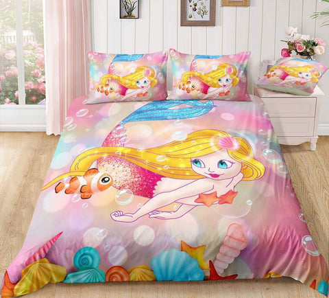 Image of Mermaid3 / Twin 3 Piece Set Mermaid Bedding Duvet Cover Sets