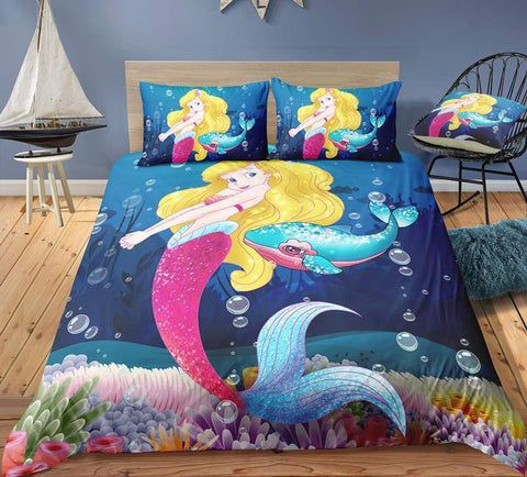 Image of Mermaid4 / Twin 3 Piece Set Mermaid Bedding Duvet Cover Sets