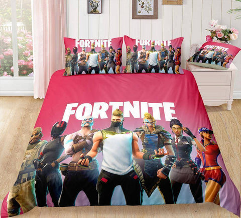 Red / Twin 3 Piece Set Original Fortnite Bedding Duvet Cover Sets