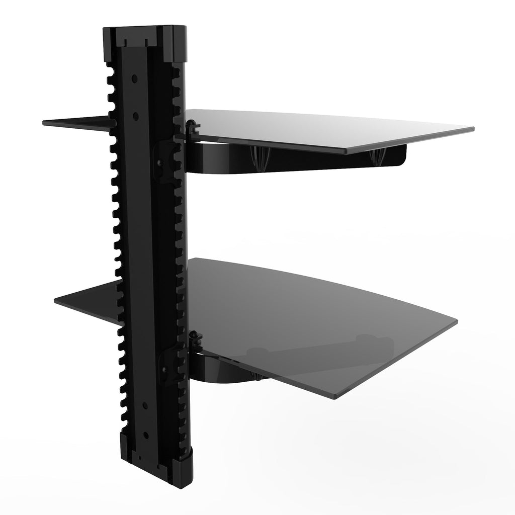 Durable Double Glass AV Wall Shelf, Supports up to 36lbs (FSH2)
