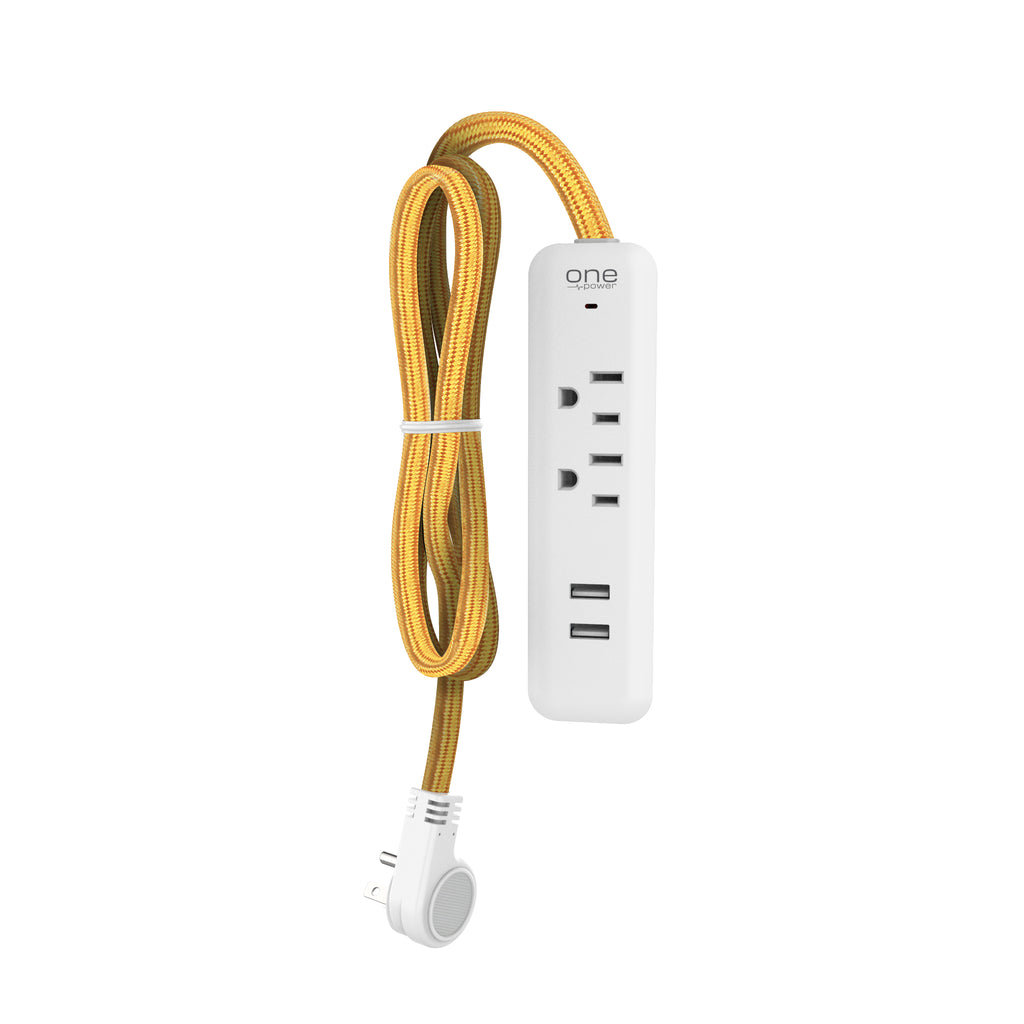 2 Outlet, 2 USB-A Surge Protector Power Strip with Braided Cable -300 Joules Protection- (OPSS221)