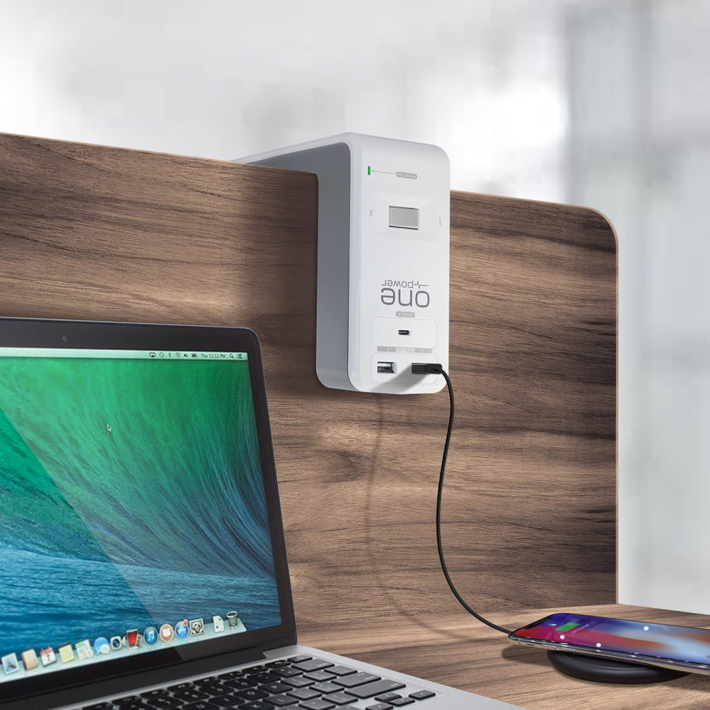 OPUS621 - Product Image - Lifestyle 2 - 6 Outlet, 2 USB-A, 1 USB-C Desktop Surge Protector with Spring Action Desk Clip, Rotatable Cord and 1080 Joules Protection