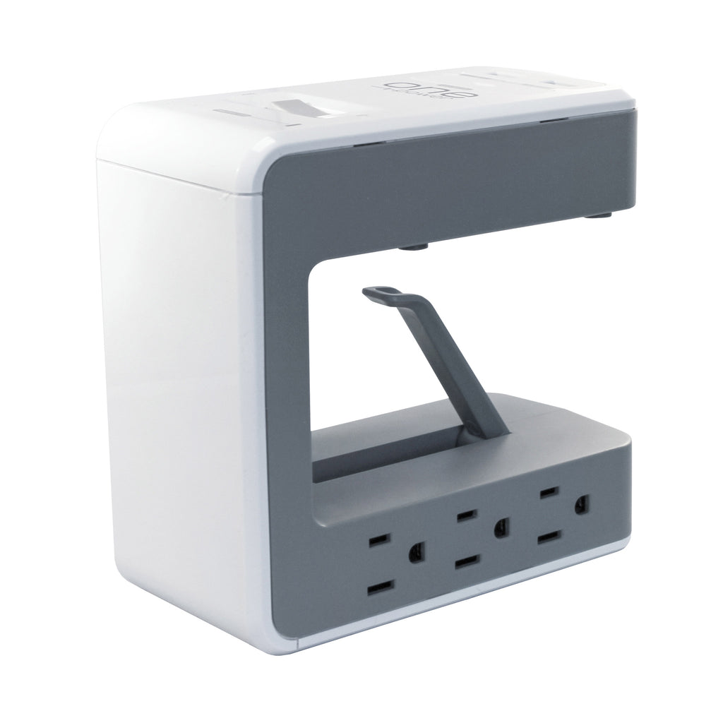 OPUS621 - Product Image - Front 3/4th View Nor Cord Alternate - 6 Outlet, 2 USB-A, 1 USB-C Desktop Surge Protector with Spring Action Desk Clip, Rotatable Cord and 1080 Joules Protection