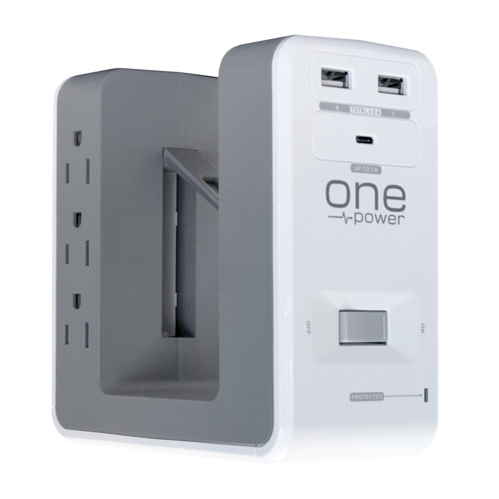 OPUS621 - Product Image - Front 3/4th View No Cord - 6 Outlet, 2 USB-A, 1 USB-C Desktop Surge Protector with Spring Action Desk Clip, Rotatable Cord and 1080 Joules Protection