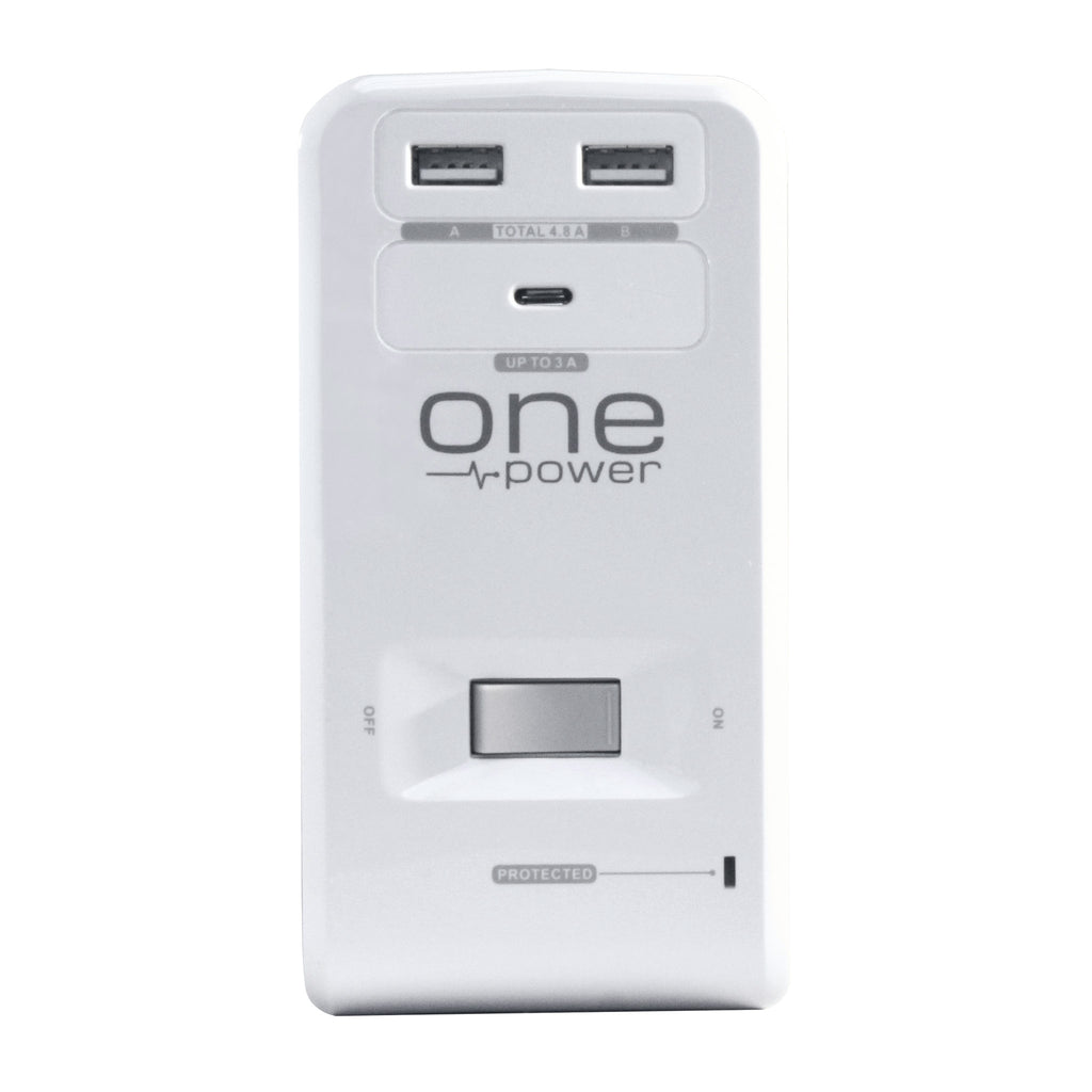 OPUS621 - Product Image - Front View - 6 Outlet, 2 USB-A, 1 USB-C Desktop Surge Protector with Spring Action Desk Clip, Rotatable Cord and 1080 Joules Protection