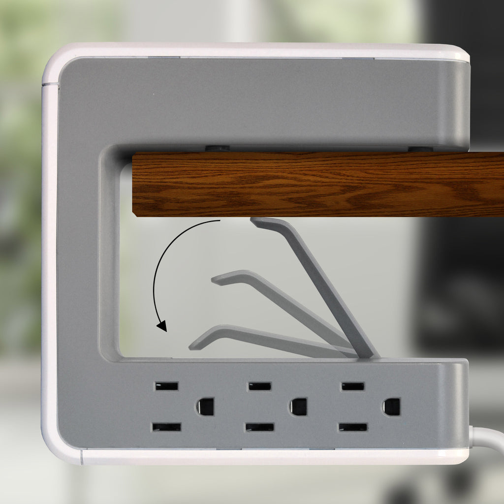 OPUS621 - Product Image - Lifestyle Showing Clip to Table Function - 6 Outlet, 2 USB-A, 1 USB-C Desktop Surge Protector with Spring Action Desk Clip, Rotatable Cord and 1080 Joules Protection