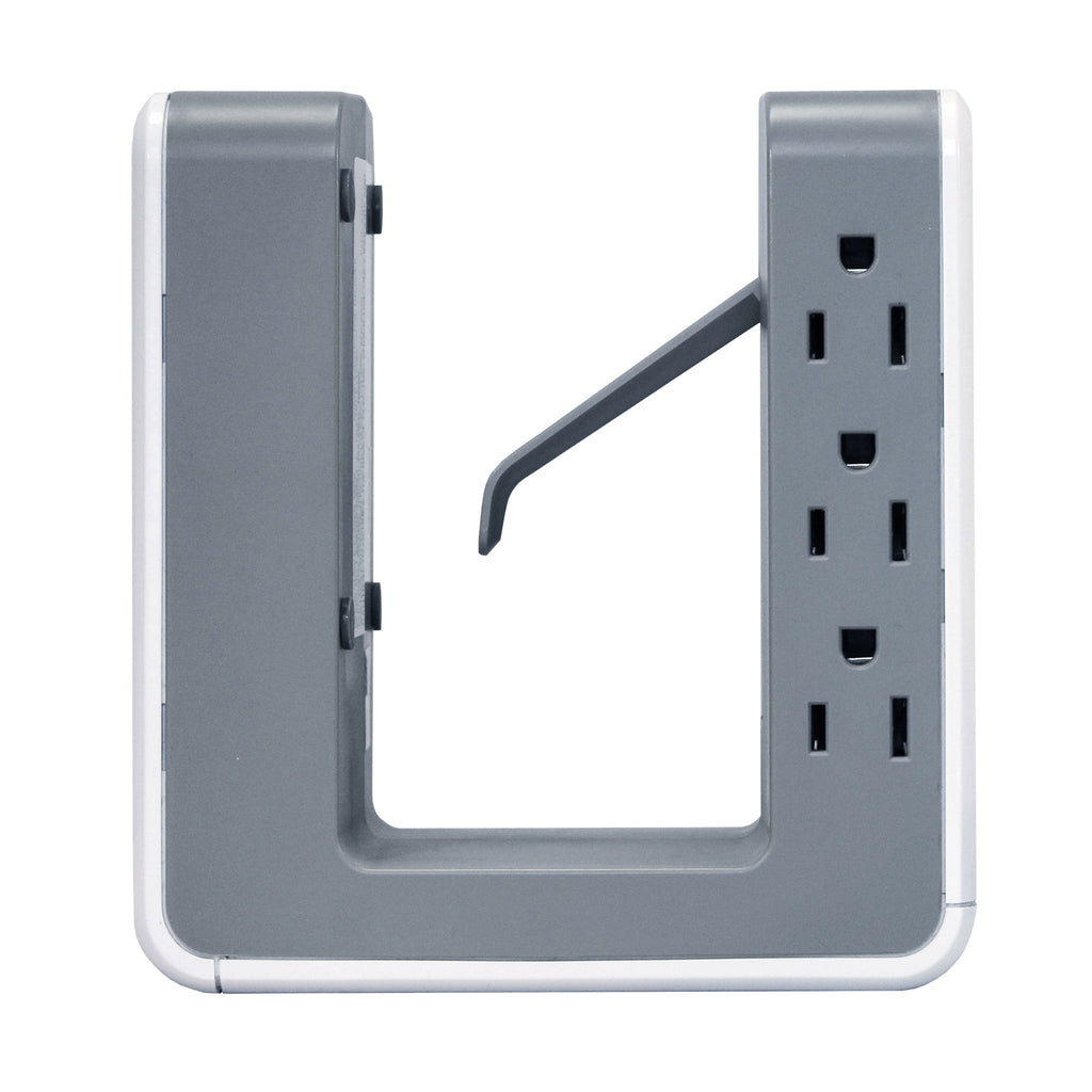 OPUS621 - Product Image - Side View - 6 Outlet, 2 USB-A, 1 USB-C Desktop Surge Protector with Spring Action Desk Clip, Rotatable Cord and 1080 Joules Protection
