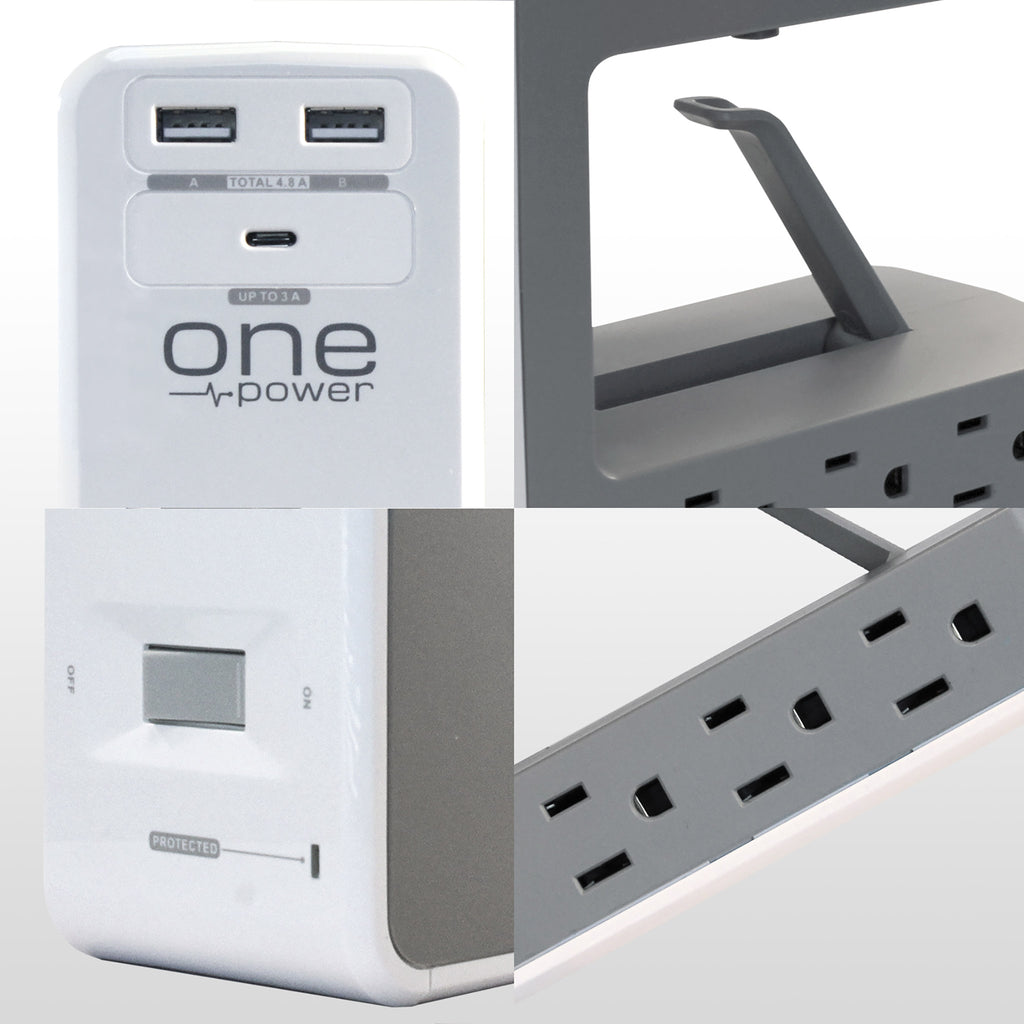 OPUS621 - Product Image - Call out Details - 6 Outlet, 2 USB-A, 1 USB-C Desktop Surge Protector with Spring Action Desk Clip, Rotatable Cord and 1080 Joules Protection