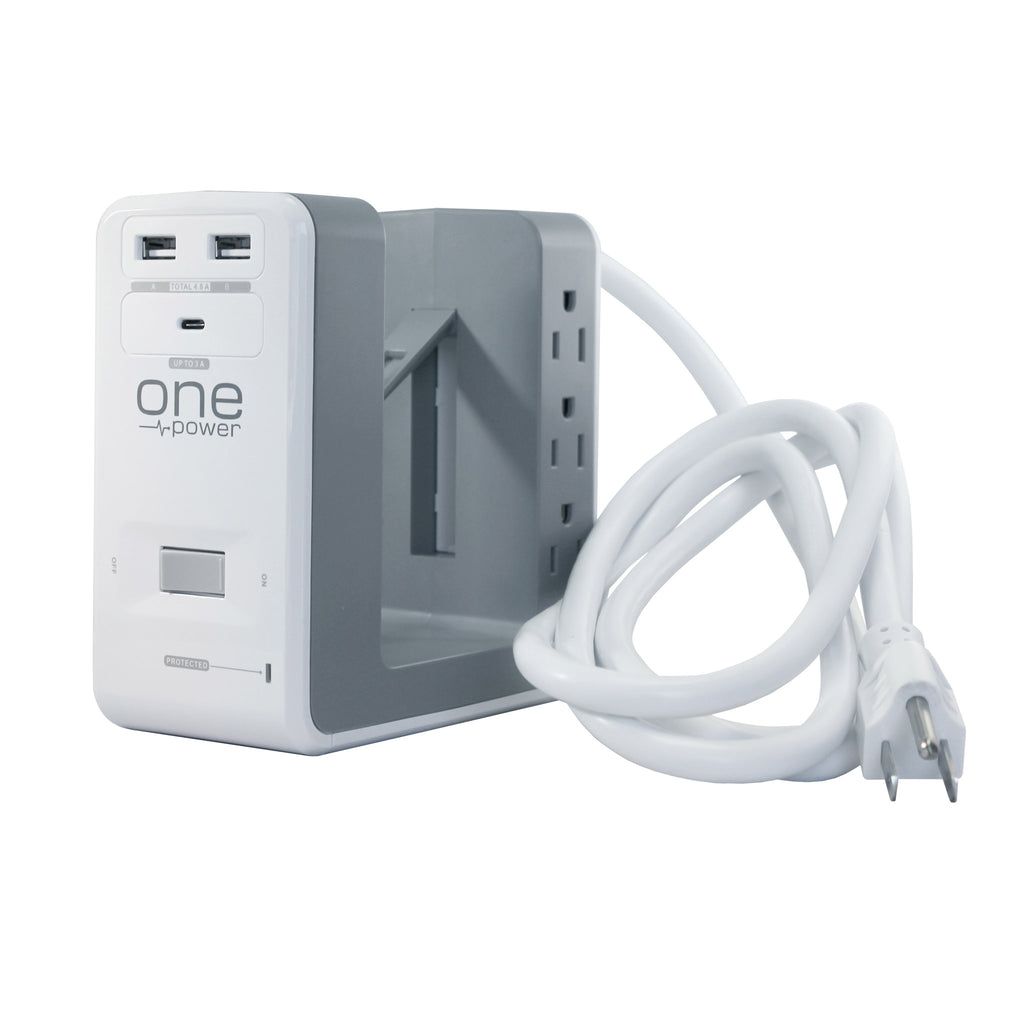 OPUS621 - Product Image - Front 3/4th View - 6 Outlet, 2 USB-A, 1 USB-C Desktop Surge Protector with Spring Action Desk Clip, Rotatable Cord and 1080 Joules Protection