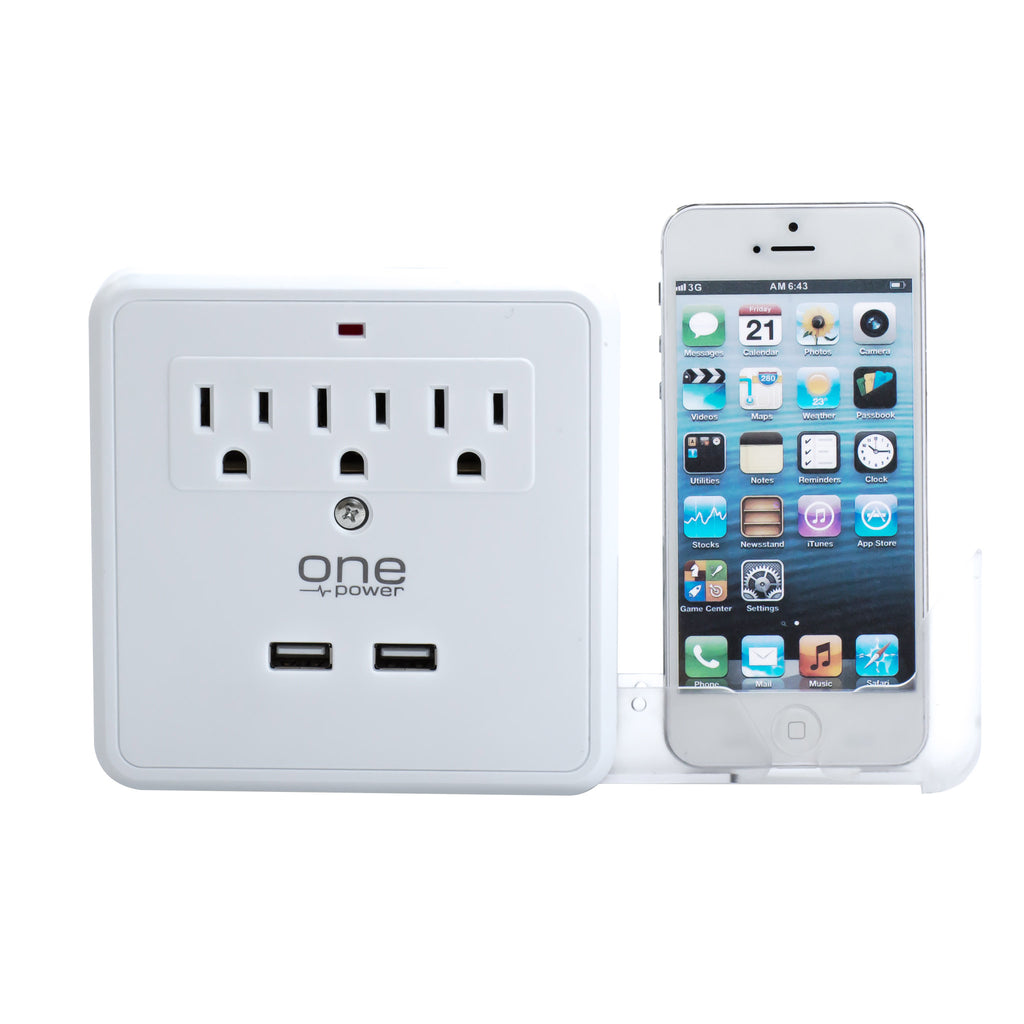3 Outlet, 2 USB-A Surge Protector Wall Tap with Slide-out Device Cradles - 300 Joules Protection - (OPWS322)