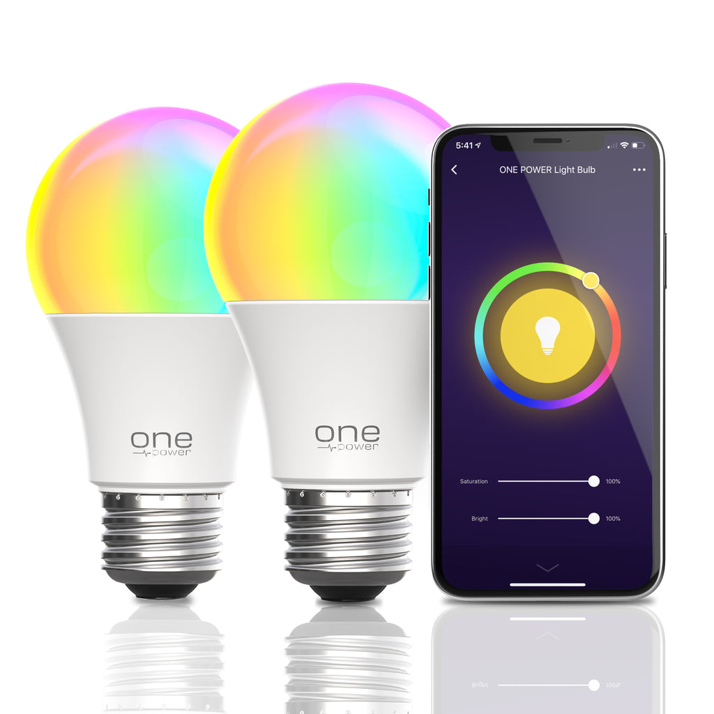 Dual 9W Color Changing Smart Bulb with 1600 Color Options, Wi-Fi Enabled, Dimmable, 800 Lumens - 2 Pack (OPLB092-2pk)