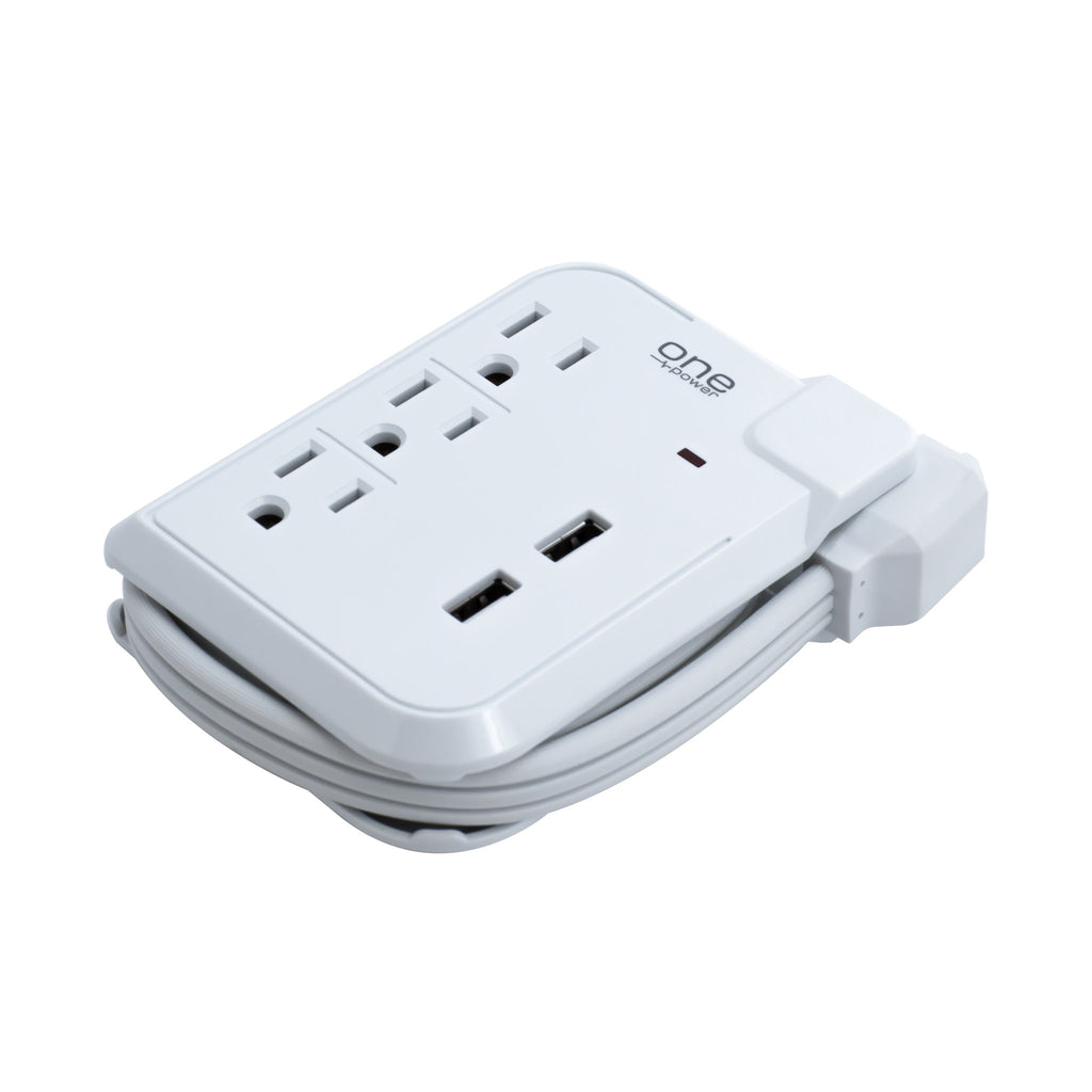 3 Outlet, 2 USB-A Travel Surge Protector with Wrap Cord - 450 Joules Protection - (PSS321)