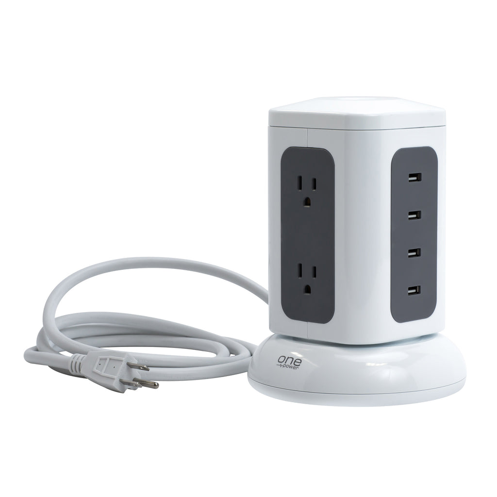 6 Outlet, 4 USB-A Surge Protector Desktop Power Tower with 1800 Joules Protection (PTS641)