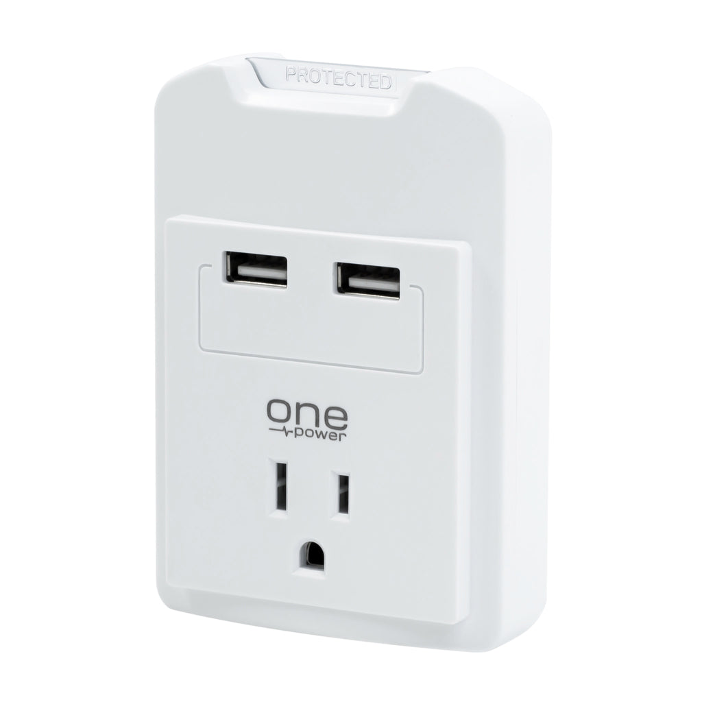 One Power, Single (1) Outlet, 2 USB Ports, 2.1 Amps, Surge Protector, 450 Joules Protection, Travel Size