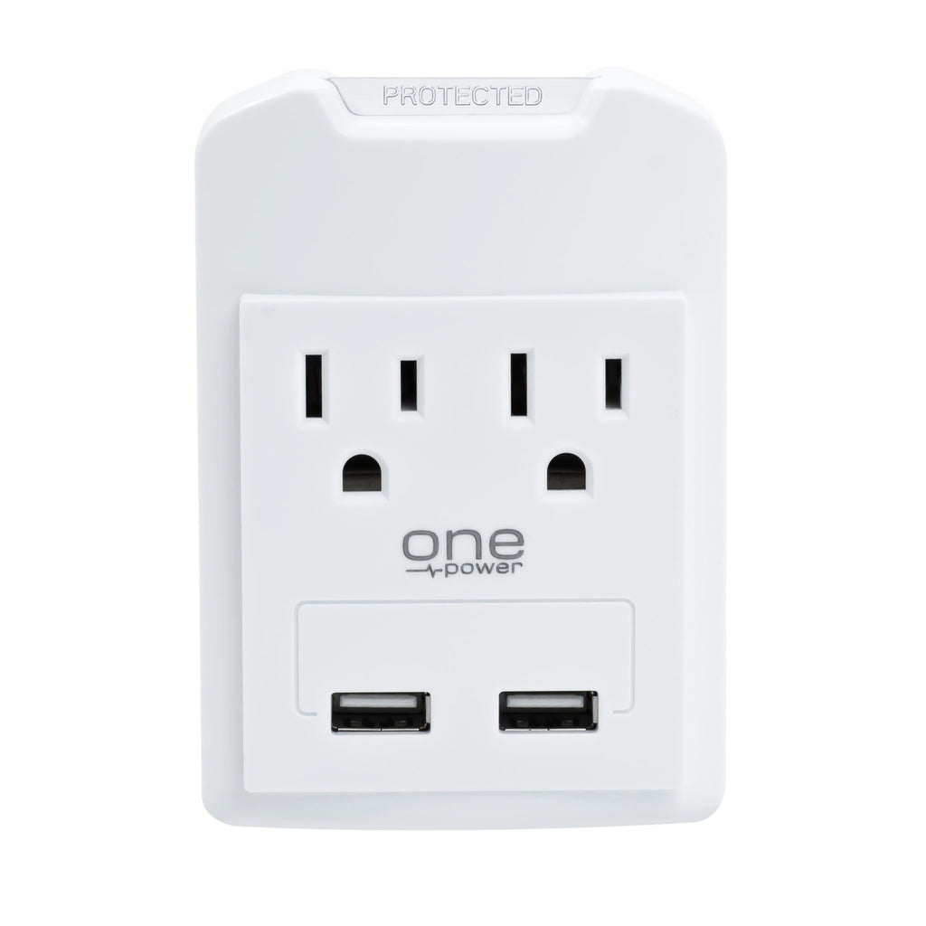 2 Outlets, 2 USB-A Surge Protector Wall Tap with 450 Joules Protection (PWS221)