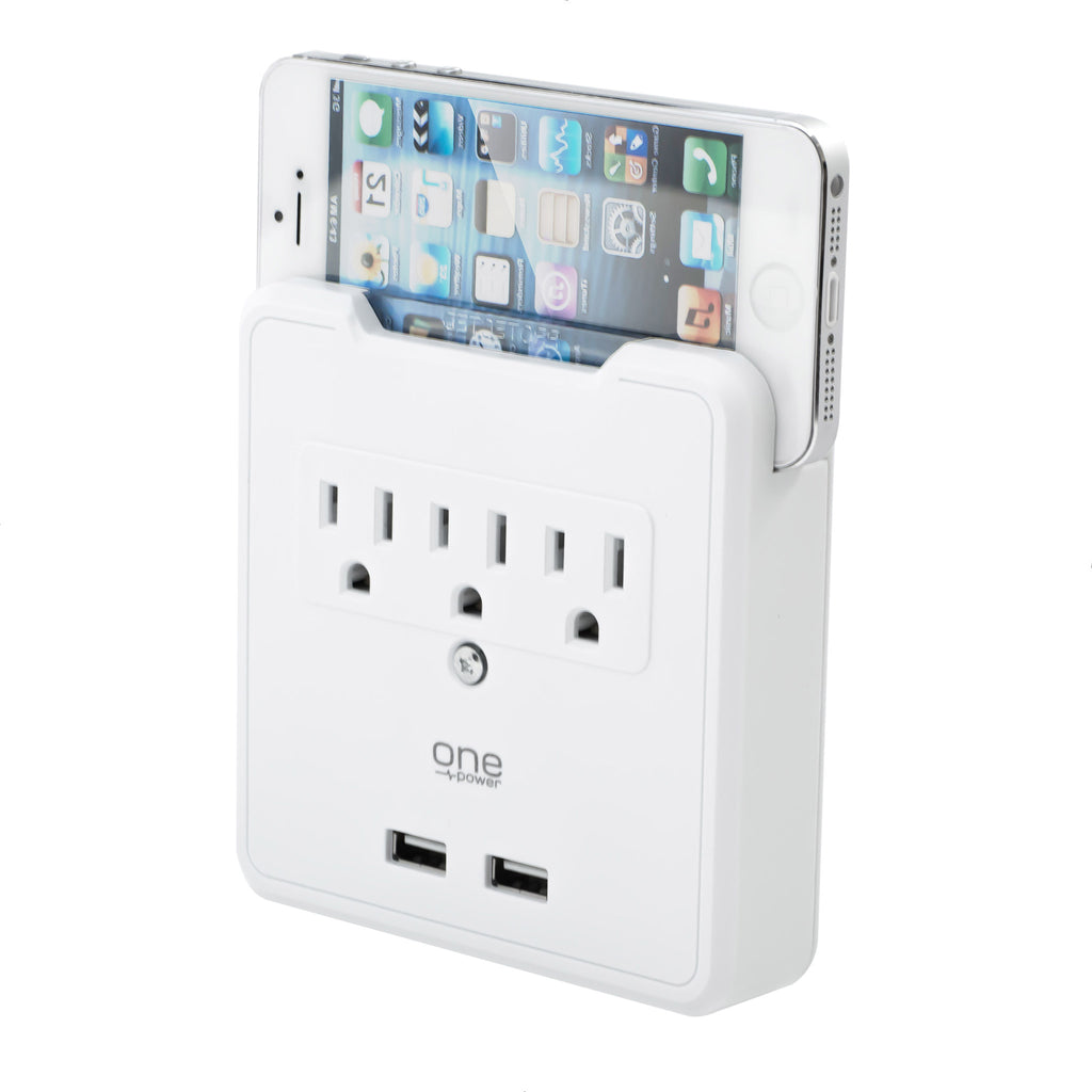 3 Outlet, 2 USB-A Surge Protector Wall Tap with Device Holder - 900 Joules Protection - (PWS321)