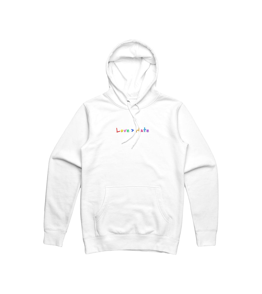 Love > Hate Embroidered White Hoodie