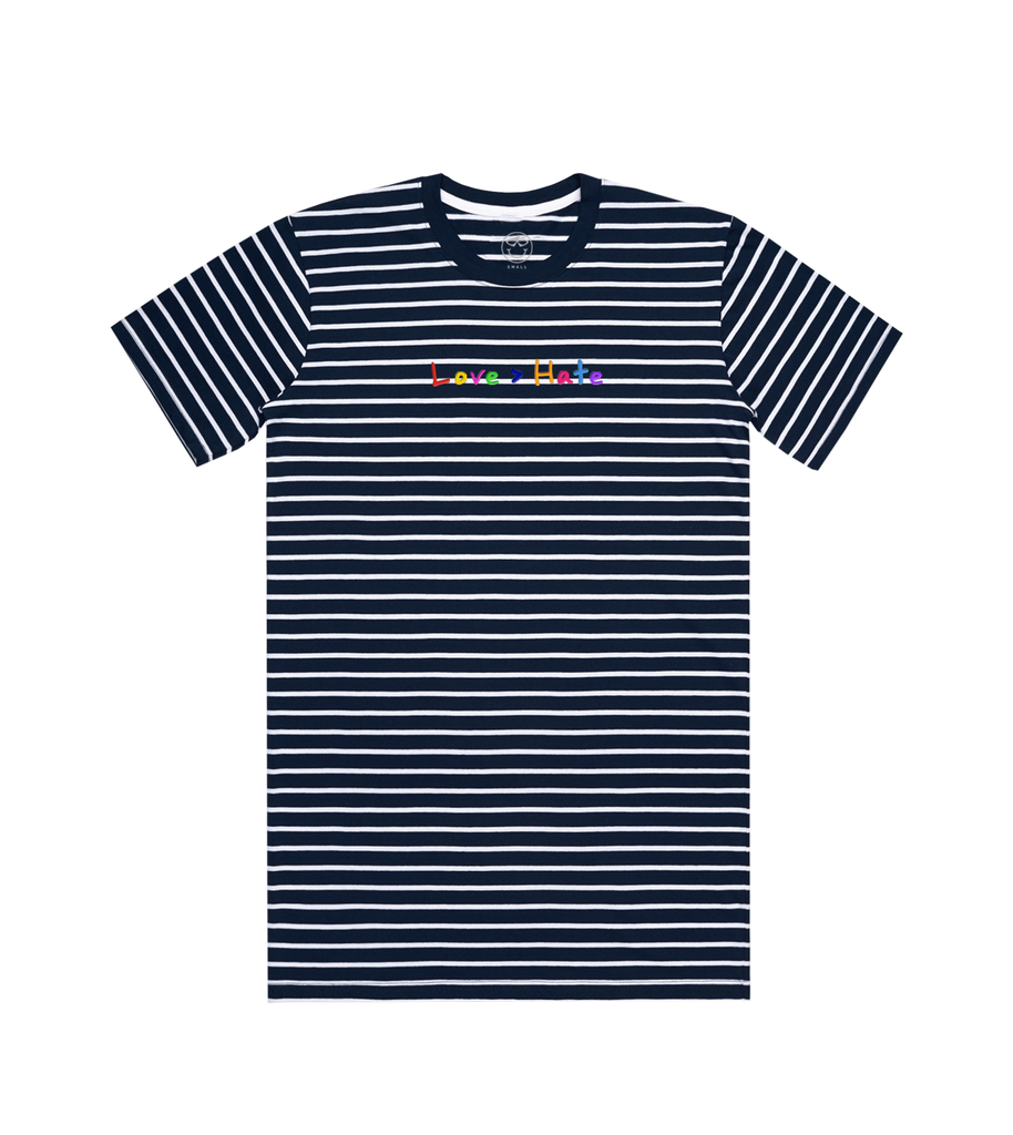 Love > Hate Navy/White Stripe Tee