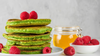Almond Matcha and raspberry pancakes