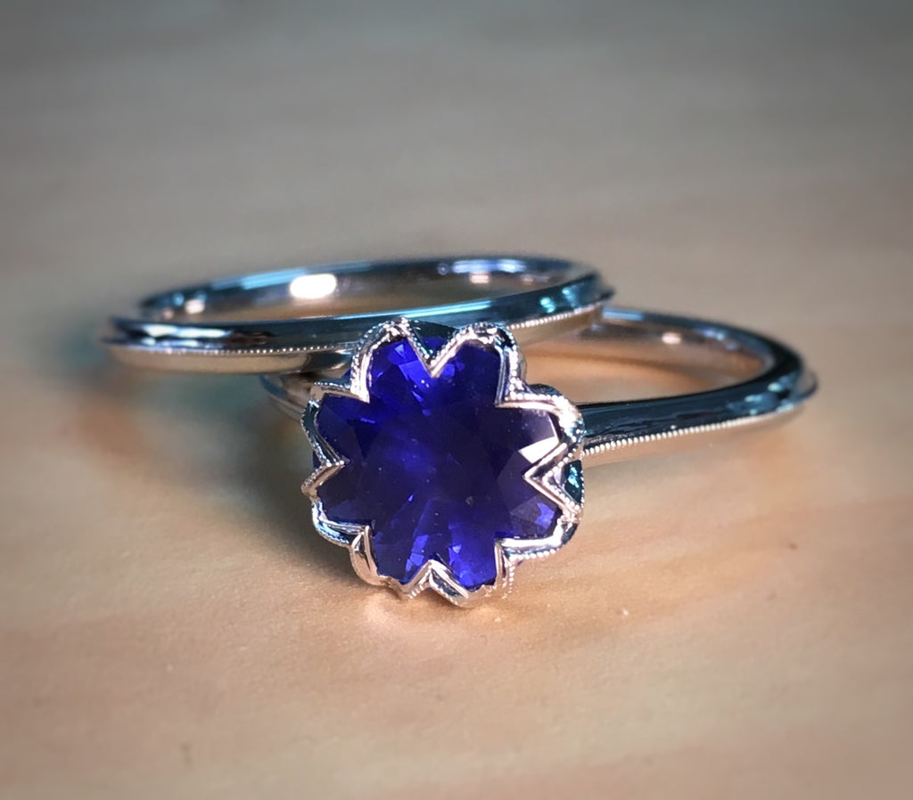 Custom Ring Series #2 - Sapphire Flower Set