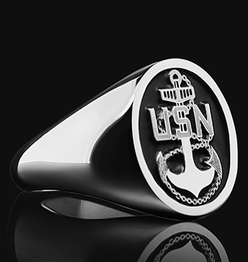 Navy Chief Signet Ring Personalized Ring in Silver