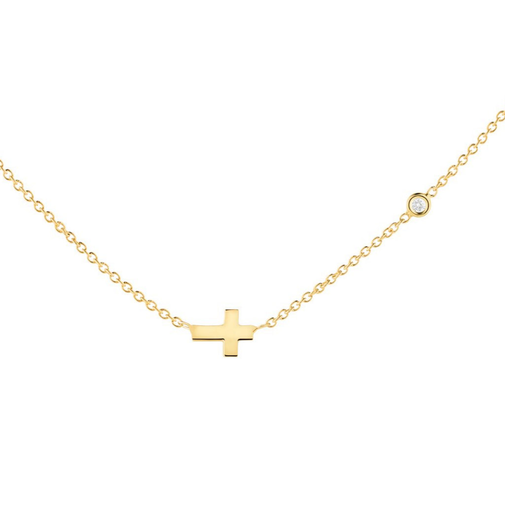 14k gold necklace with a cross and diamonds