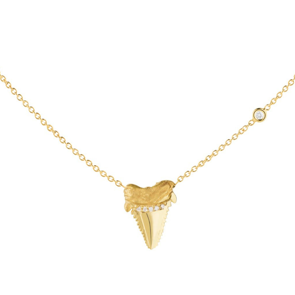 Diamond Shark Tooth Stackable Necklace - The Jewelry Republic