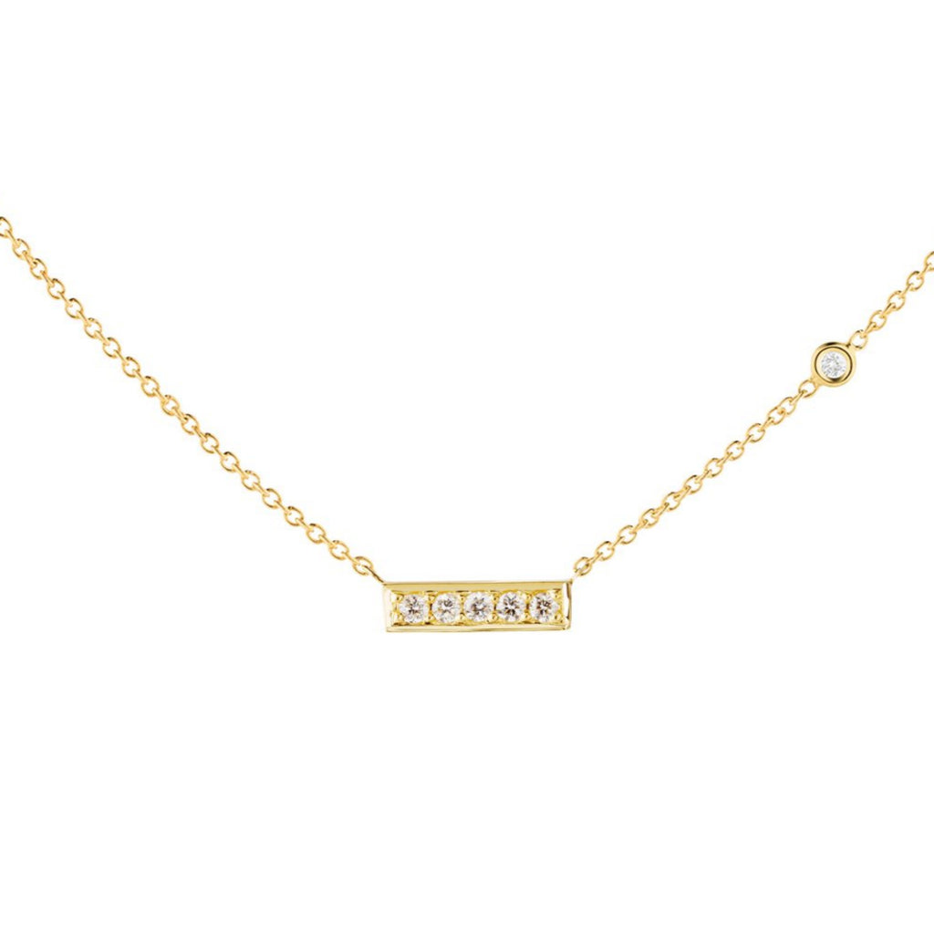 Five Diamond Bar Necklace - The Jewelry Republic