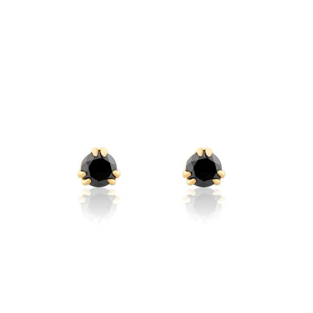 Black Diamond Round Stud Earrings - The Jewelry Republic