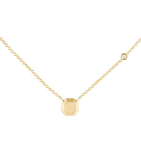 Gold Gemstone Cushion Cut Pendant