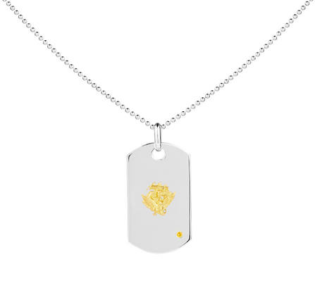 NAVY ACE 14K Gold & Sapphire Classic Dog Tag - Rosie Network Exclusive - The Jewelry Republic
